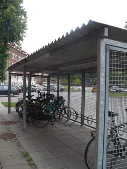 roofed bike rack on campus